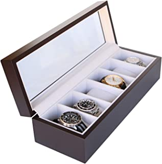 Solid Espresso Wood Watch Box Organizer with Glass Display Top by Case Elegance (Trä)