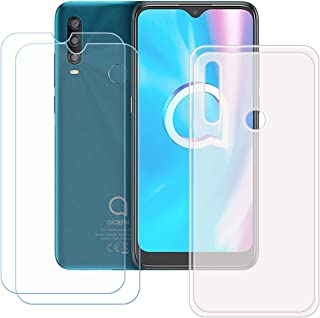FZZ Case for Alcatel 1 SP + 2 Pack Tempered Glass Screen Protector Protective Film,Slim Semi-Transparent Soft Gel TPU Sili...