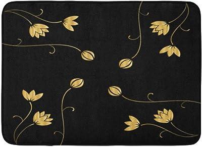 Custom Doormats Black Flowers Home Door Matses Entrance Mat Floor Rug Indoor/Outdoor/Front Door/Room Mats Non Slip Rubber 23.6 * 15.7 inch