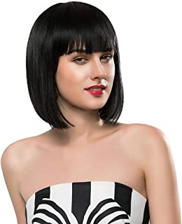"""13"""" Straight Black Synthetic Wigs With Bangs For Women Short Hair Bob Wig Heat Resistant Bobo Hairstyle Cosplay Wigs"""