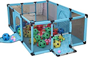 LNDDP Playpens Play Yard Green Toddler  Kids Safety Game Fence with Ball Net  Indoor Outdoor Toy Tents  Anti-collision  120 100 62cm