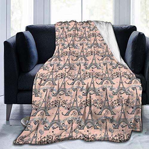Manta mullida, retro de bicicletas, diseño de corazones y globos franceses con diseño de remolinos artísticos, ultrasuave, para dormitorio, cama, TV, 203 x 152 cm