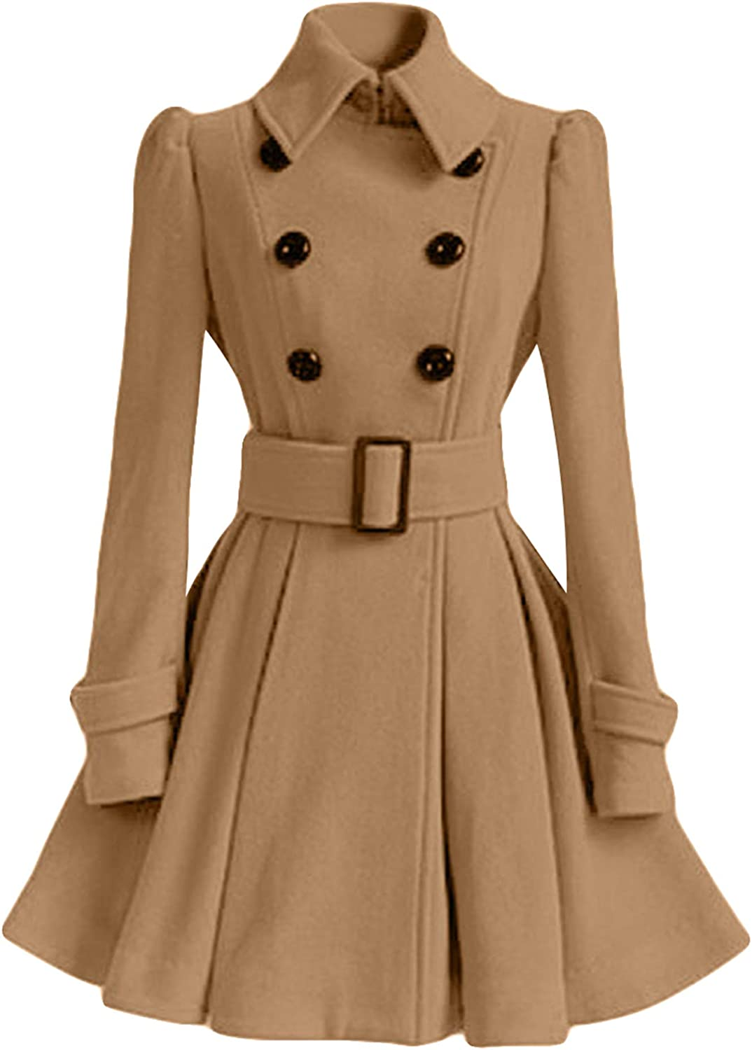 ZICUE Womens Vintage Double Breasted Pea Coat Winter Mid-Long Hooded Jackets with Belted