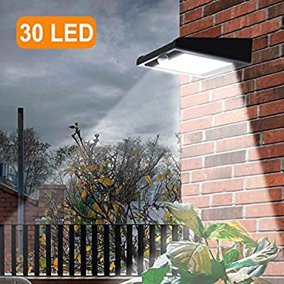30 LED Solar Lights Outdoor, Super Bright Solar Motion Sensor Lights, Wireless Waterproof Security Lights with 120 Degree Wide Angle Illumination for Wall, Driveway, Patio, Yard, Garden