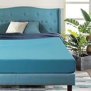 Aisbo Drap Housse 140x190 cm Bonnet 30 cm,Drap Housse 1 Personne en Microfibre Brossée, 140x190x30cm, Paon Bleu