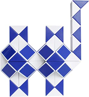 Mipartebo Magic Snake Cube Twist Puzzles 72 Wedges Brain Teaser Toys White and Blue