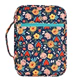 Bible Cover Case, Canvas Book Cover Case with Floral Pattern for Women and Girls, Standard...