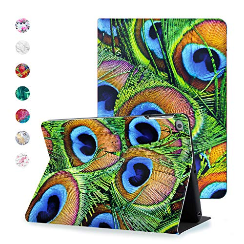 Hoppacase Premium iPad Air Case 9.7 Inch 2014 2013 for Air 1 / Air 2 - Revolutionary Viewing Access, Smart Cover with Auto Wake/Sleep, Full Body Shockproof Protection - Peacock Feathers