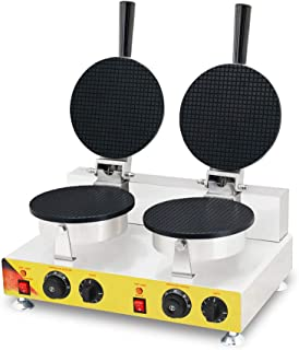TECHTONGDA Ice Cream Cone Egg Roll Waffle Baker Maker Machine Iron for Cone Making Electric Nonstick 110V 2KW with High Precision Template