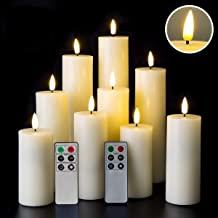 Eywamage Tall Flameless Pillar Candles Battery Operated Real Wax LED Candles with Remote Timer Set of 9 Ivory 2 Inch Diameter