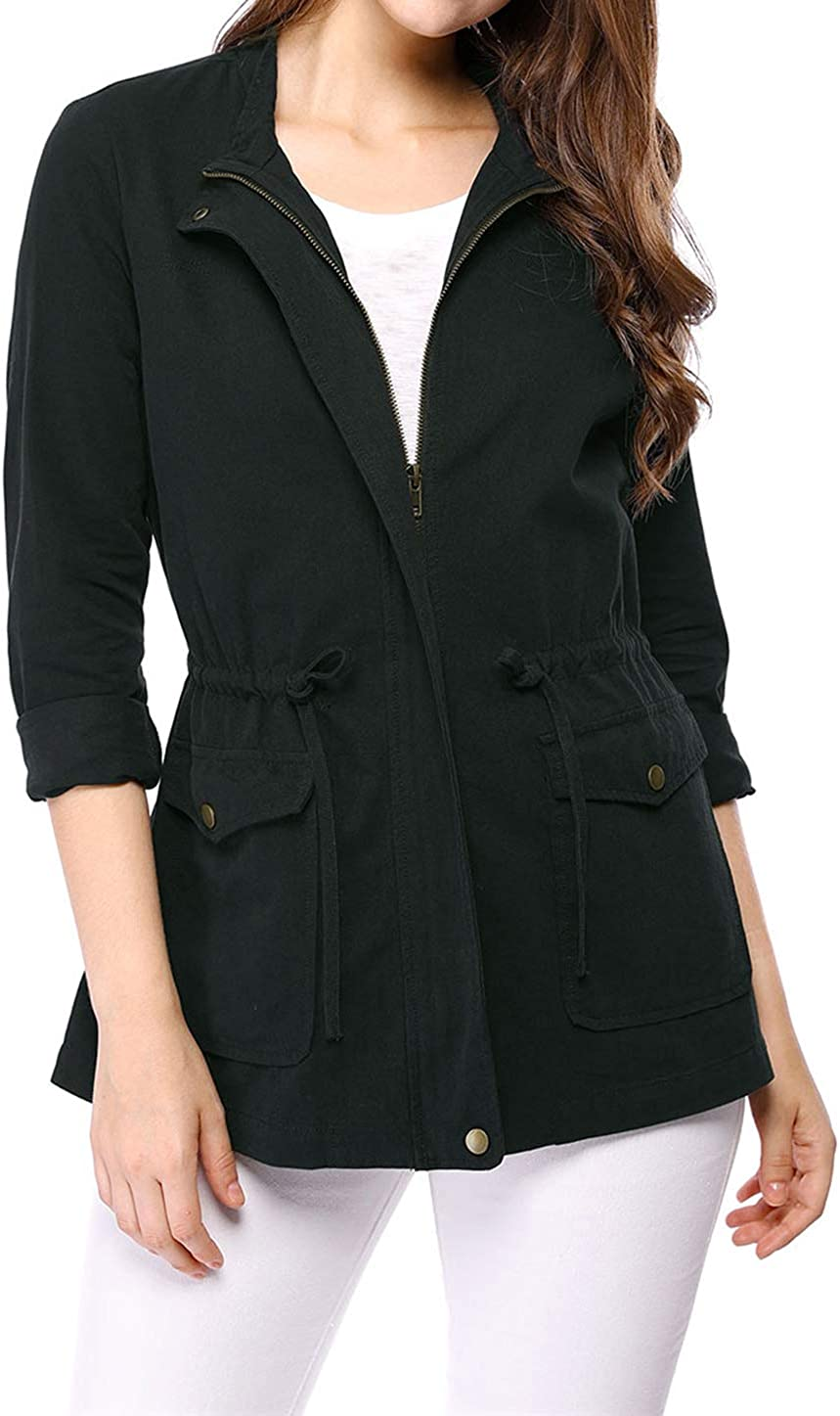 Allegra K Women's Winter Fall Zip Up Jacket Drawstring Waist Casual Coat
