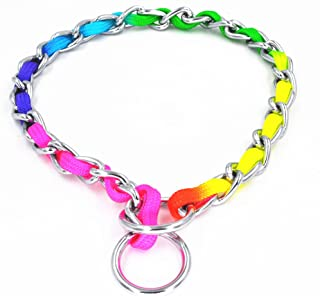 JWPC Rainbow Color Stainless Steel P Chock Metal Chain Training Dog Pet Collars Necklace Walking Training Pet Supplies Small Medium Large Dogs