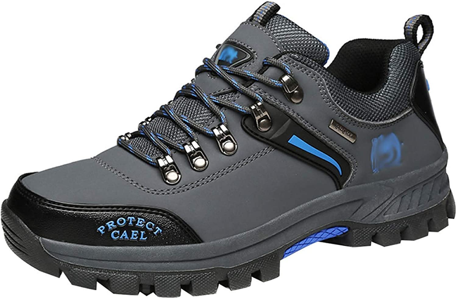 Fuxitoggo Men's Walking Boots Leather Hiking shoes Sneakers For Outdoor Trekking Training Casual Work (color   25, Size   46EU)