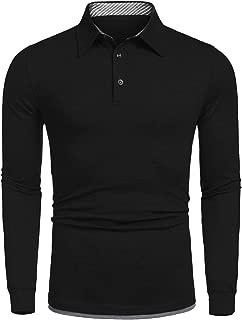 Men's Long Sleeve Polo Shirt Casual Striped T-Shirt Sport Gofl Polo Shirts
