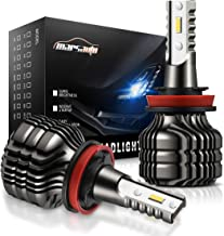 Marsauto H11 H8 H9 LED Headlight Bulbs Conversion Kit, H16 Upgraded 12 CSP Chips 9000 Lumens LED Headlamp 6000K 6500K Cool White(Pack of 2)