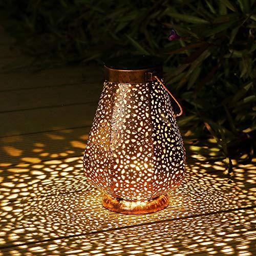 Linterna Solar Para Exteriores, Othran Marroquíes De Metal Lámparas Solares Para Exteriores, Impermeable IP44, Lámparas Solares Para Jardín, Linterna Decorativa LED Para Terraza, Balcón, Terraza