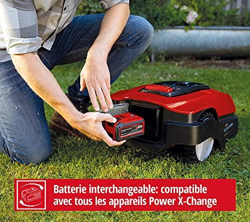 Einhell Robot Tondeuse FREELEXO 500 BT Power X-Change (Li-Ion, 18 V, tondeuse multizone, contrôle des applications Bluetooth, avec accessoires d'installation, batterie 2.5 Ah et ladestation)
