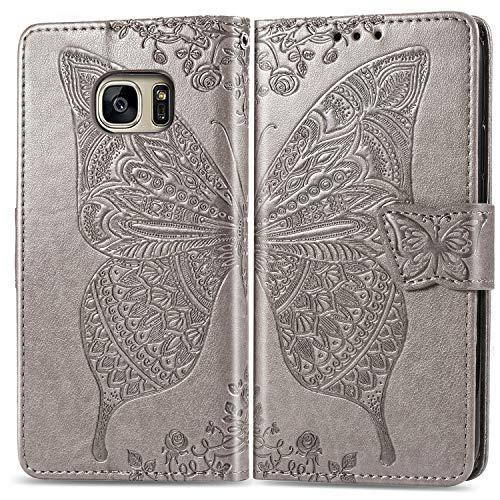 Hülle für Galaxy S7 Edge Hülle Handyhülle [Standfunktion] [Kartenfach] Tasche Flip Case Cover Etui Schutzhülle lederhülle klapphülle für Samsung Galaxy S7Edge/G935F - DESD020420 Grau