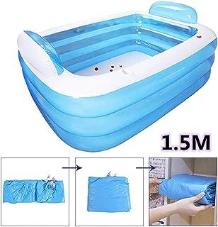 Piscina hinchable para el hogar- piscina de gruesa bola marina resistente al desgaste de 3 anillos- piscina inflable rectangular familiar Swim Center- para todos los ninos- ninos y adultos (1.5M)