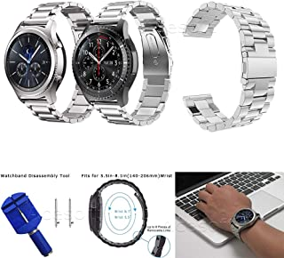 Durable Stainless Steel Metal Replacement Watch Band for Samsung Gear S3 Classic SM-R775V Verizon (Silver) +Watchband Disassembly Tool