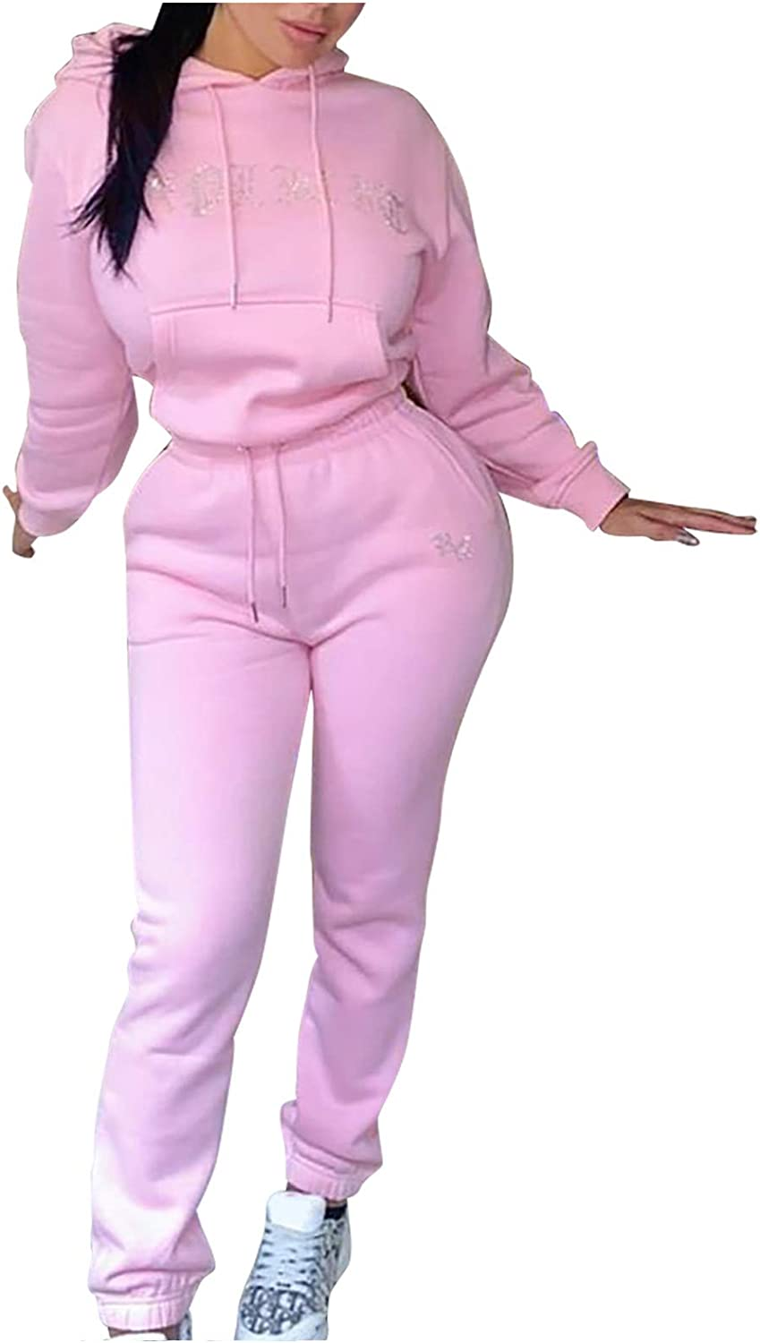 Forwelly Two Piece Outfits for Women Winter Casual Tracksuit Crop Hoodies and Sweatpant Set Sport Sweatsuit Loungewear