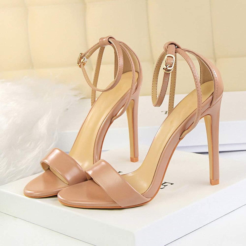 XTQCBQL Frauen 11 cm High Heels Glänzend Riemchen Abdeckung Fersen Plattform Gold Sandalen Weibliche Schuhe Lady Summer Pumps