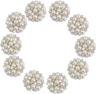 CJESLNA 10pcs Rhinestone Faux Pearl Flower Embellishments Button Flatback 22mm