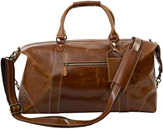 Travel Duffel Bag Oversized Genuine Leather Bag Luggage Padded Laptop Sleeve Overnight Weekend Bag For Men/Women Great Gift Idea