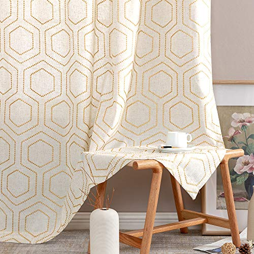Yellow Window Curtains Honeycomb Embroidered Design Linen Textured Living Room Curtain Drapes Bedroom Bronze Grommet Window Treatment Set One Pair 95 inch