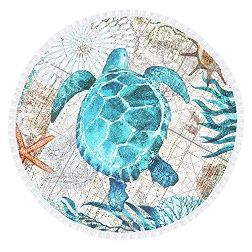 QYX Toalla De Playa Redonda De Tortuga Marina De 150x150cm Azul Océano Alfombra Redonda Grande Tapices De Toalla De Playa Livianos Adecuados para Viajar Nadar Acampar Al Aire Libre y Deportes