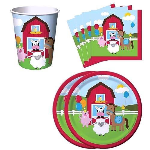 "/'Farmhouse Fun/' Children/'s Birthday Party Farm Animals 9/"" Party Paper Plates"