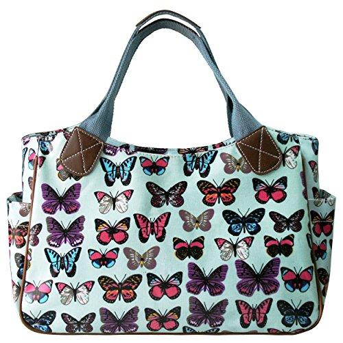 Miss Lulu - Bolso para mujer, de hule, con flores, búho, lunares o mariposas, color verde, talla M