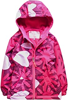 Hiheart Girls Hooded Fleece Lined Active Jacket Outdoor Waterproof Coat Pink