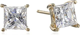 Amazon CollectionYellow-Gold-Plated Sterling Silver Swarovski Zirconia (2cttw) Princess Cut Earrings