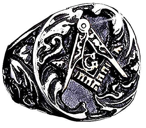 Inception Pro Infinite Anillo Maestro Massona – Hombre – Loggia Massonica – Escuadra – Compás – G – Color Plata – Negro y Oro (IT 26) – Idea regalo