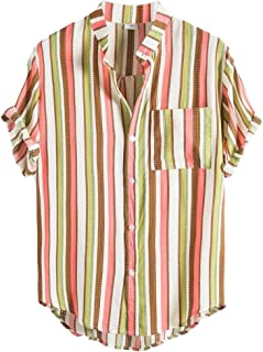 HOUJ Mens Loose Stand Collar Stripe Print Summer Plus Size Button Front Shirt