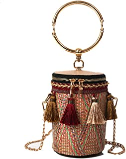 FTSUCQ Womens Chain Straw Tassels Satchels Shoulder Handbags Casual Bucket Bag Hobos Purse