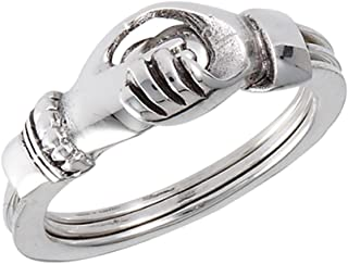 Hands Holding Heart Promise Ring Set New .925 Sterling Silver Band Sizes 5-9