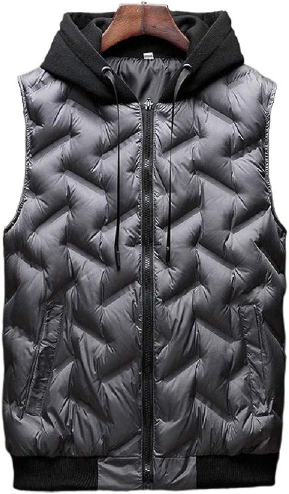 CHARTOU Men's Stylish Hoodie Zip-Up Quilted Puffer Warm Short Vest Waistcoat
