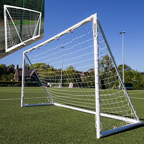 QUICKPLAY Q-Fold Soccer Goal | The 30 Second Folding Soccer Goal for Backyard [Single Goal] The Best Weatherproof Soccer Net for Kids and Adults 2YR Warranty (2) 8x5'