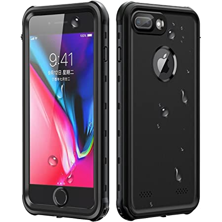 Lamcase for iPhone 8 Plus Waterproof Case, iPhone 7 Plus Waterproof Case, Built-in Screen Protector IP68 Underwater Sealed Full Body Protective Shockproof Snowproof Dustproof Clear Cover, Black