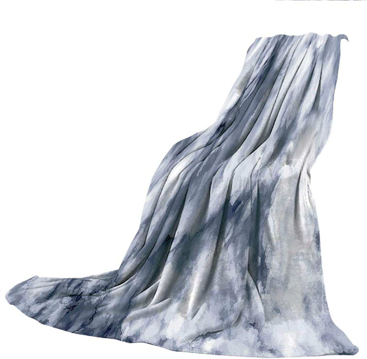 SCOCICI Blanket for Bed Couch Chair Fall Winter Spring Living Room,Marble,Cloudy Stylized Artistic Marble Pattern with Foggy Effects Abstract Display Decorative,Cadet bluee Dust,59.06  W x 86.62  H