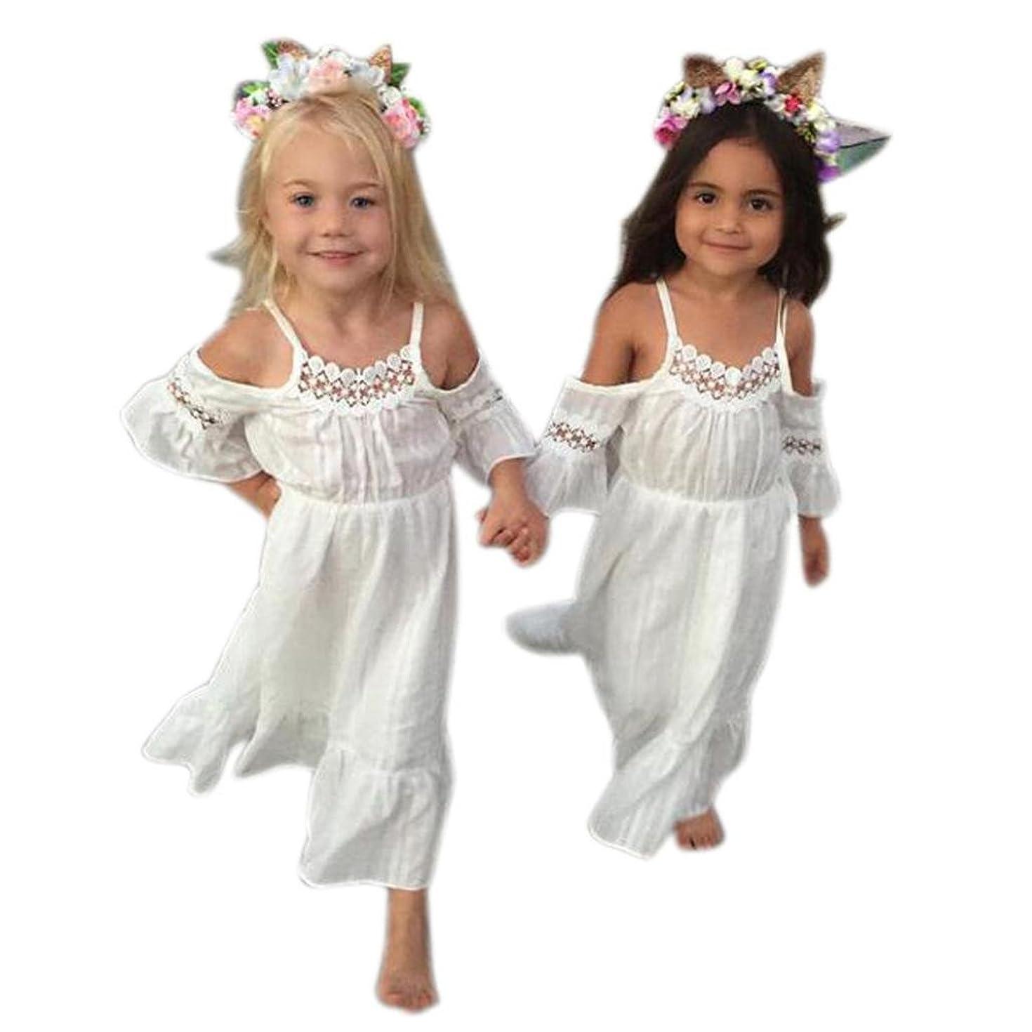 Hemlock Baby Little Girl Long Dress Lace Off Shoulder Wedding Party Dress (5T, White)