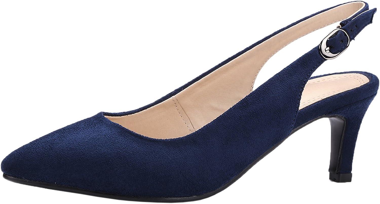 BIGTREE Wedding Sandals for Women Pointed Toe Pumps Adjustable Buckle Slingback Dress Sandals