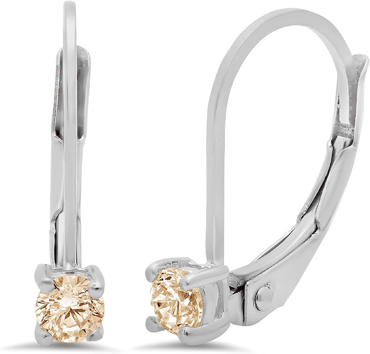 0.1ct Brilliant Round Cut Solitaire Flawless Genuine VVS1 Yellow Moissanite Gemstone Unisex Pair of Lever back Drop Dangle Designer Earrings Solid 18k White Back conflict free Jewelry