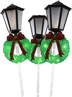 Kurt S. Adler UL 30-Inch Lantern with Wreath Yard, 3-Piece Set, 22, 66 Total Stake Lights, Multi