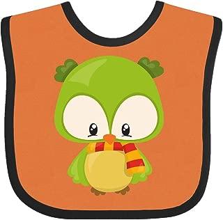Inktastic Cute Owl Wearing a Striped Scarf, Green Owl Baby Bib Orange and Black
