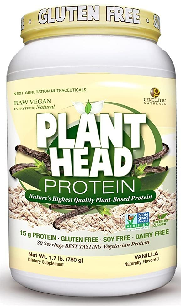 Genceutic Naturals Plant Head Protein Dietary Supplement, Vanilla, 1.7 LB (Pack Of 4)