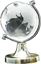 SODIAL Support du globe du monde en cristal verre givre Decoration de presse-papiers de bureau a la maison et de mariage
