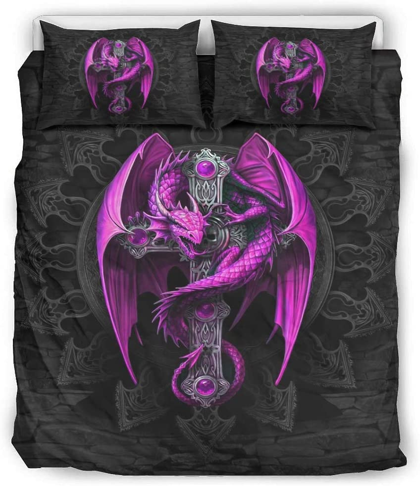 VVEDesign Purple Dragon and Cross Quilt Super Online limited product sale Set Size Micr Full Queen